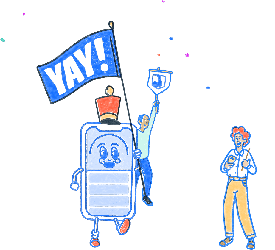 Pocket Prep phone mascot holding a 'Yay' banner and celebrating with two other people. Illustration.