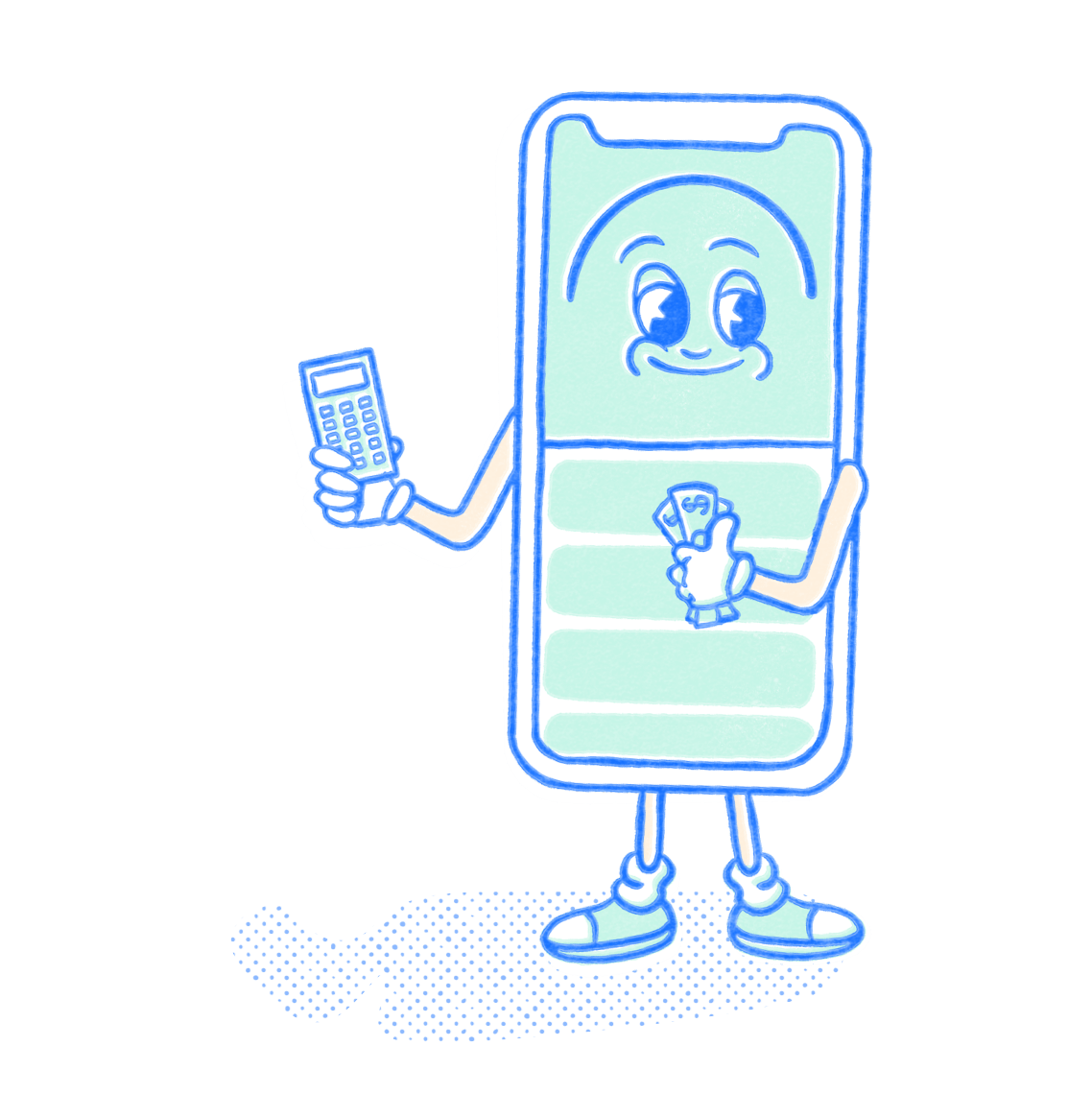 Finance Pocket Prep mascot holding a calculator and dollar bills. Illustration.