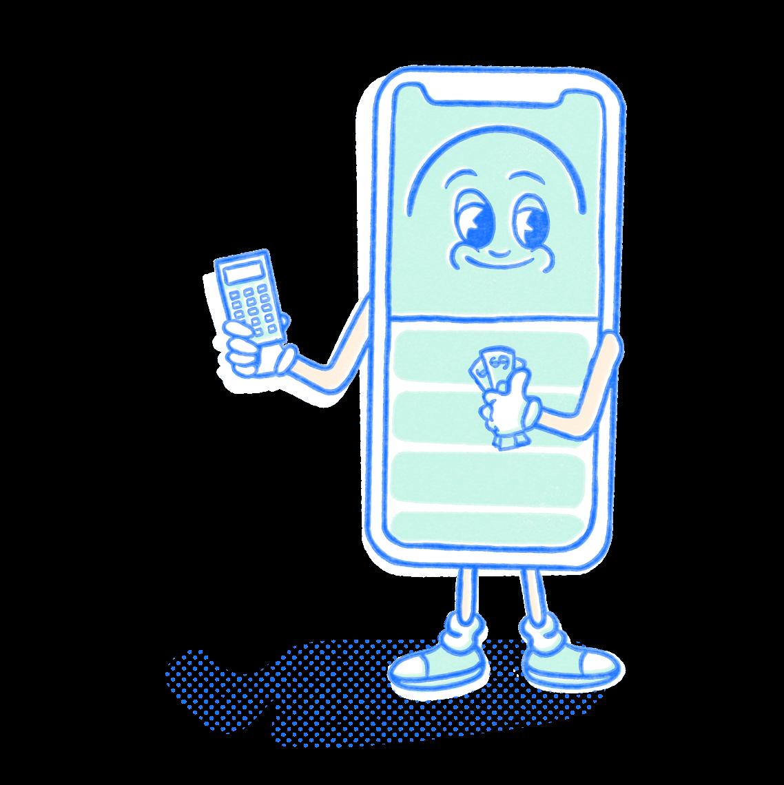 Finance Pocket Prep mascot holding a calculator and dollar bills. Illustration.