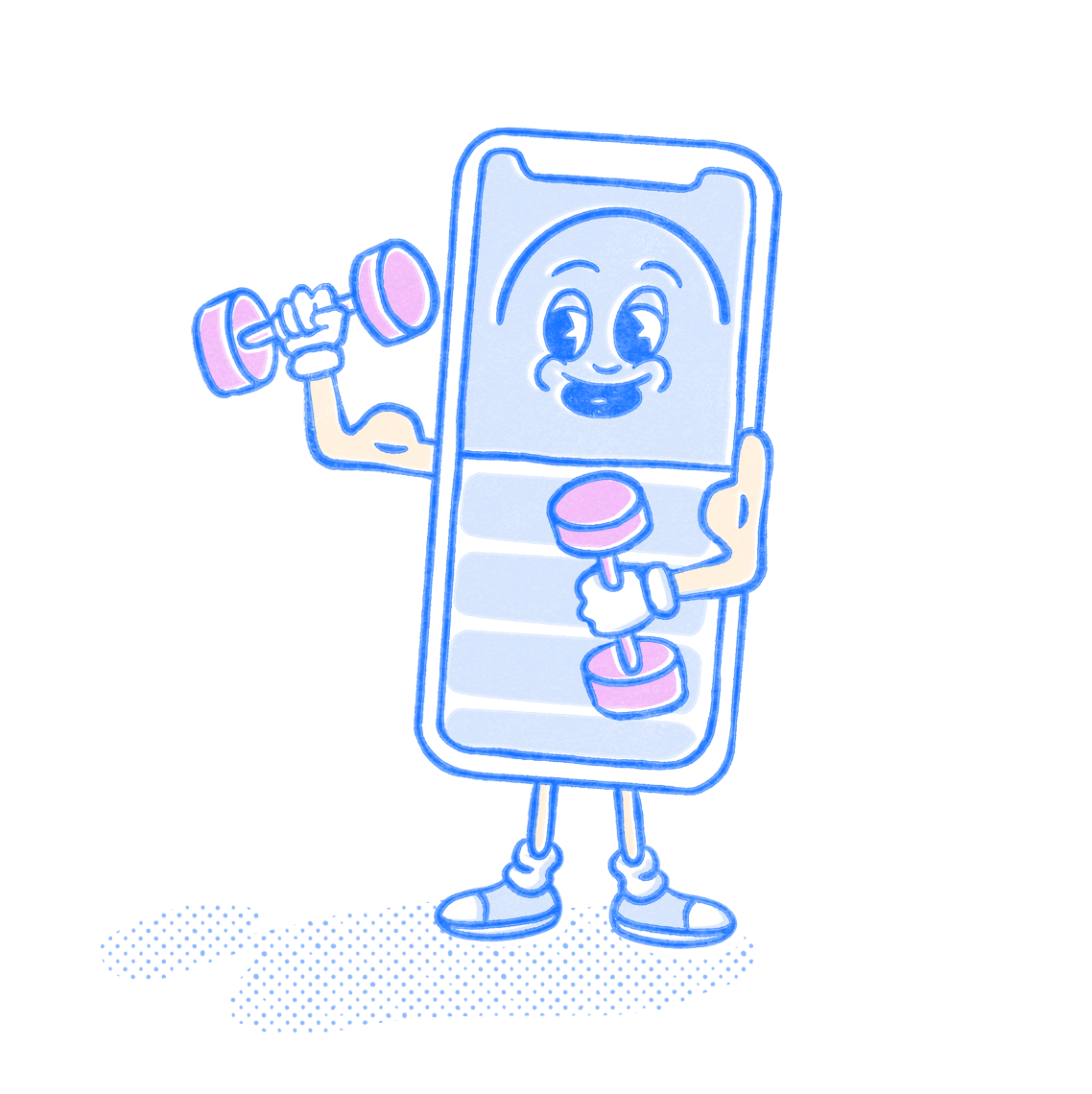 Fitness Pocket Prep mascot lifting dumbbells. Illustration.