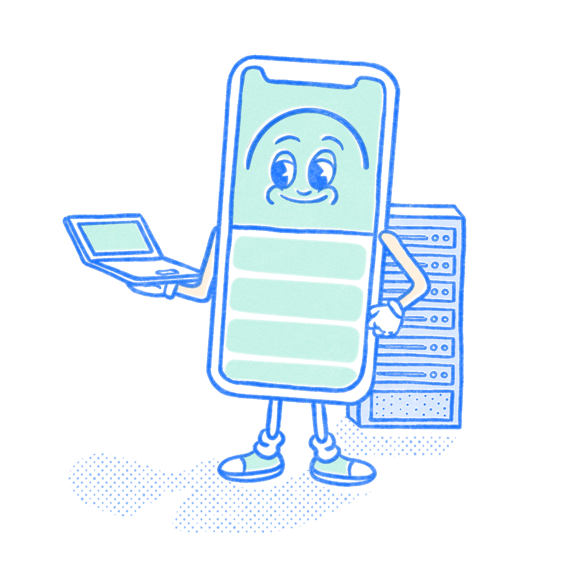 IT & Cybersecurity Pocket Prep mascot holding a laptop in front of a server rack. Illustration.