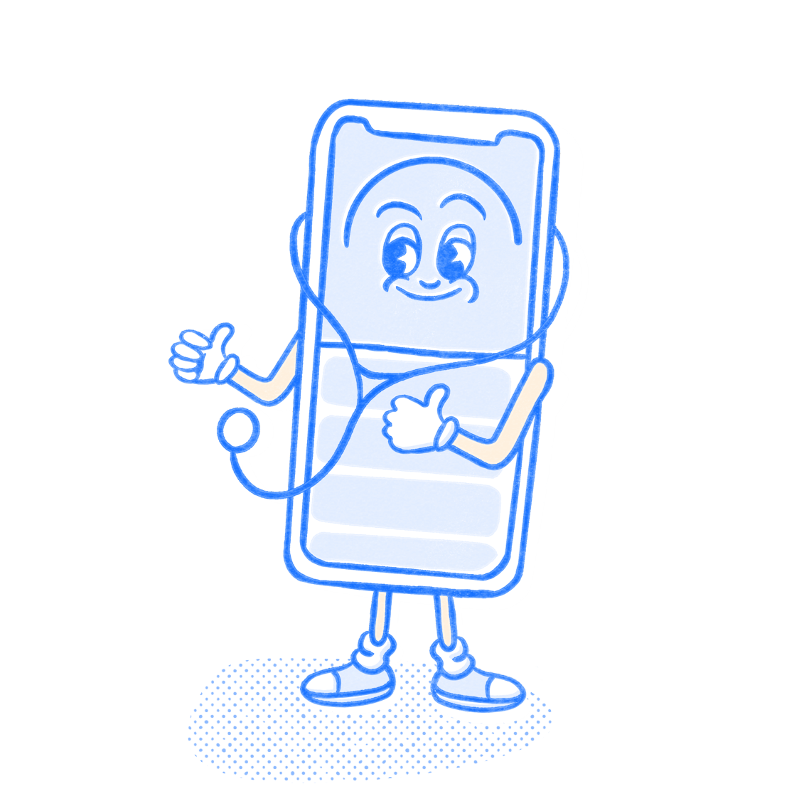 Medical Pocket Prep mascot wears stethoscope and gives thumbs up. Illustration.