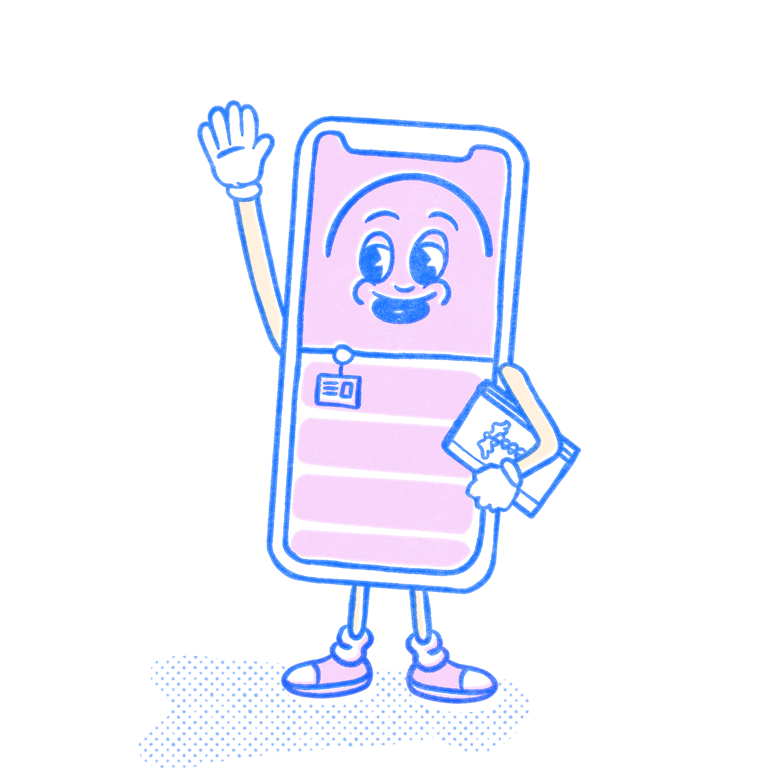 Nursing School Pocket Prep mascot raising their hand and holding a book. Illustration.
