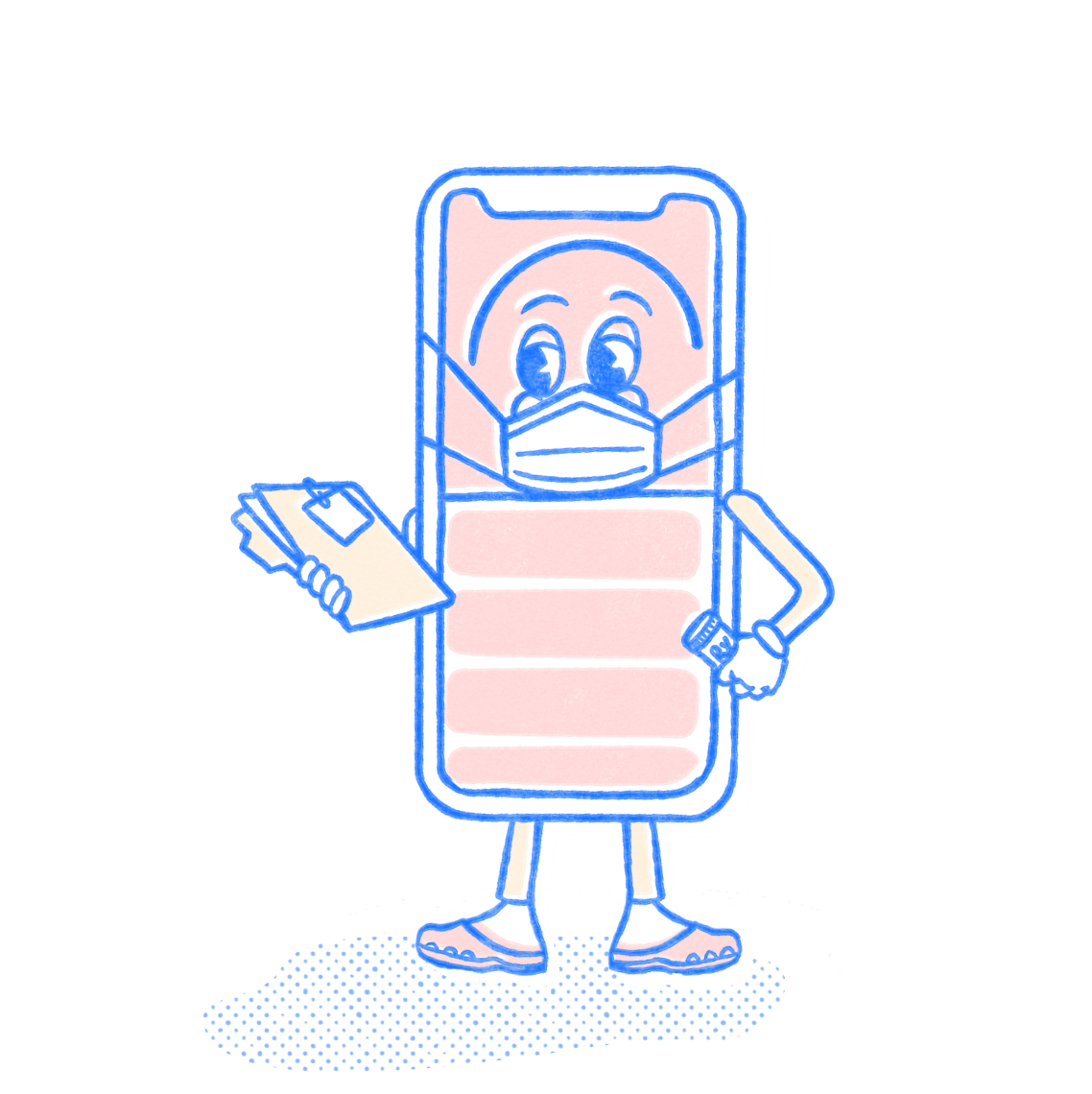 Nursing Pocket Prep mascot wearing a face mask and holding a patient file. Illustration.
