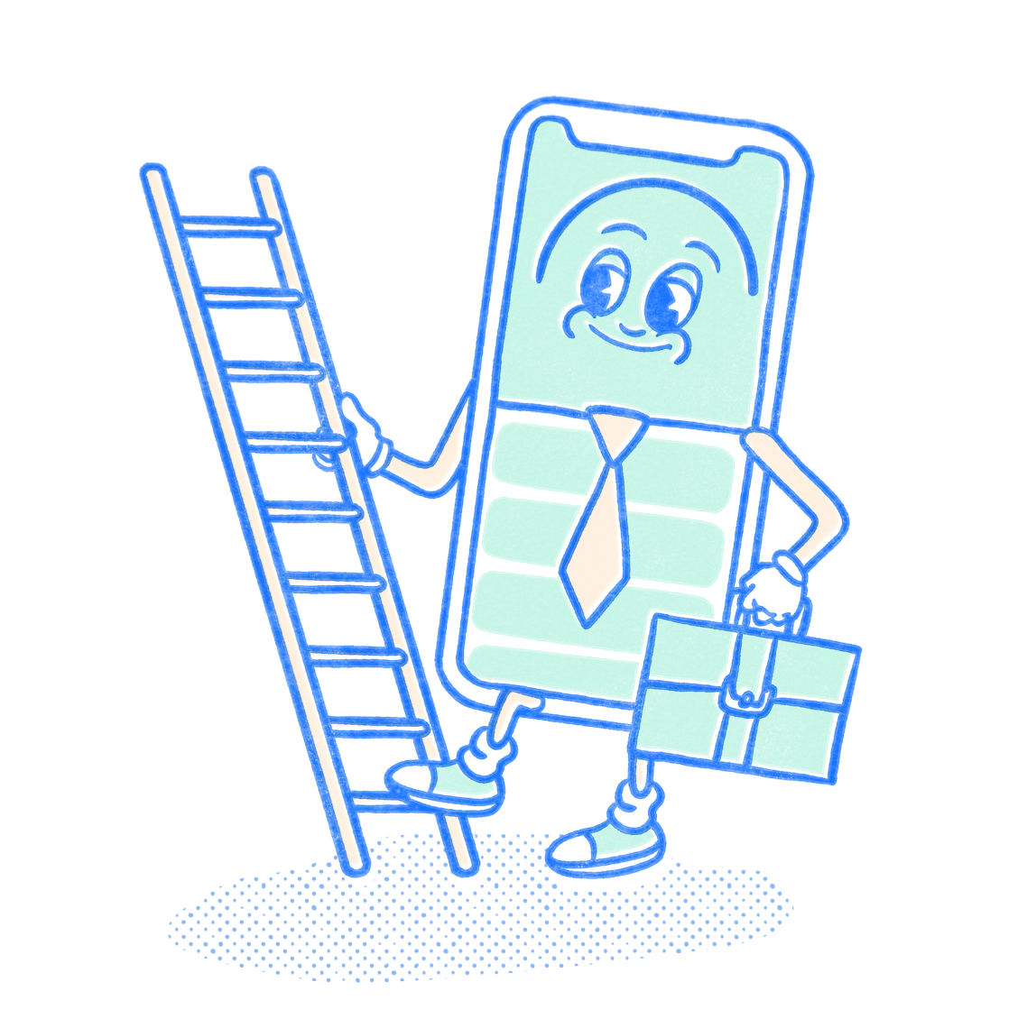 Professional Pocket Prep mascot holding a briefcase as they climb a ladder. Illustration.