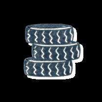 Stack of three tires. Illustration.