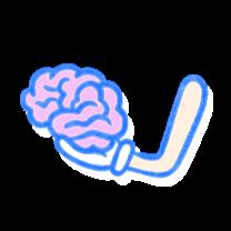 Hand holding a pink brain. Illustration.