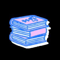 Stack of three books. Illustration.