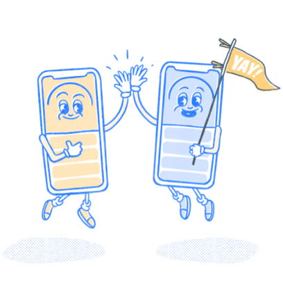 Two Pocket Prep phone mascots high-fiving.