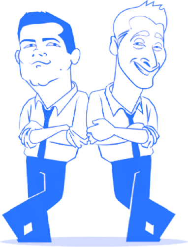 Caricature drawing of Pocket Prep founders Ken and Pete