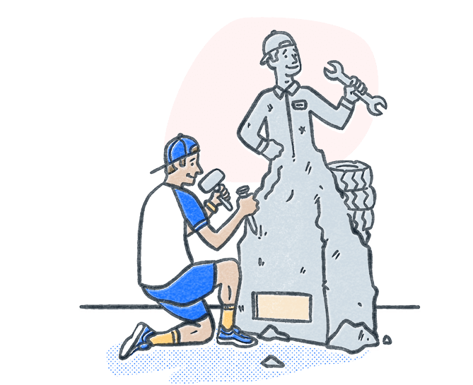 Man chiseling stone into a statue to look like an automotive mechanic. Illustration.