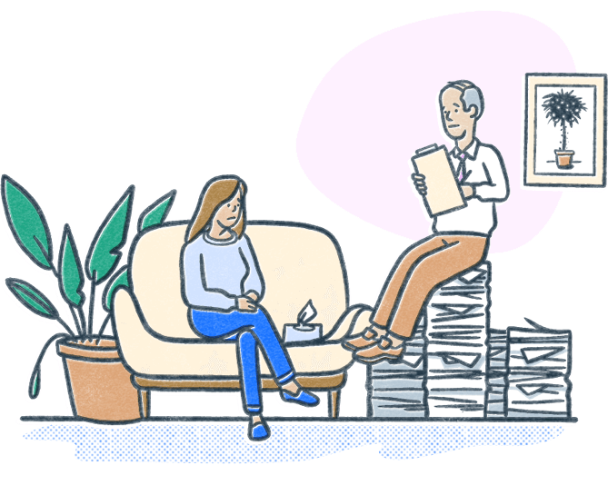 Clinical mental health counselor sits on a mound of papers across from a client in a counseling session. Illustration.