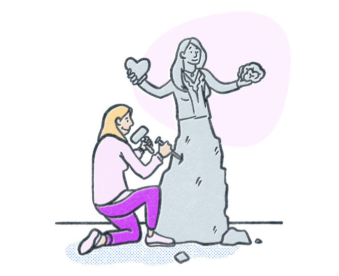 Woman chiseling stone into a statue to look like a behavioral health professional. Illustration.