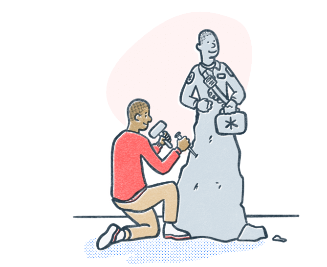 Man chiseling stone into a statue to look like an EMT professional. Illustration.