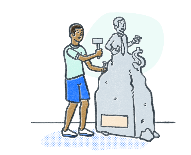 Man chiseling stone into a statue to look like a finance professional. Illustration.
