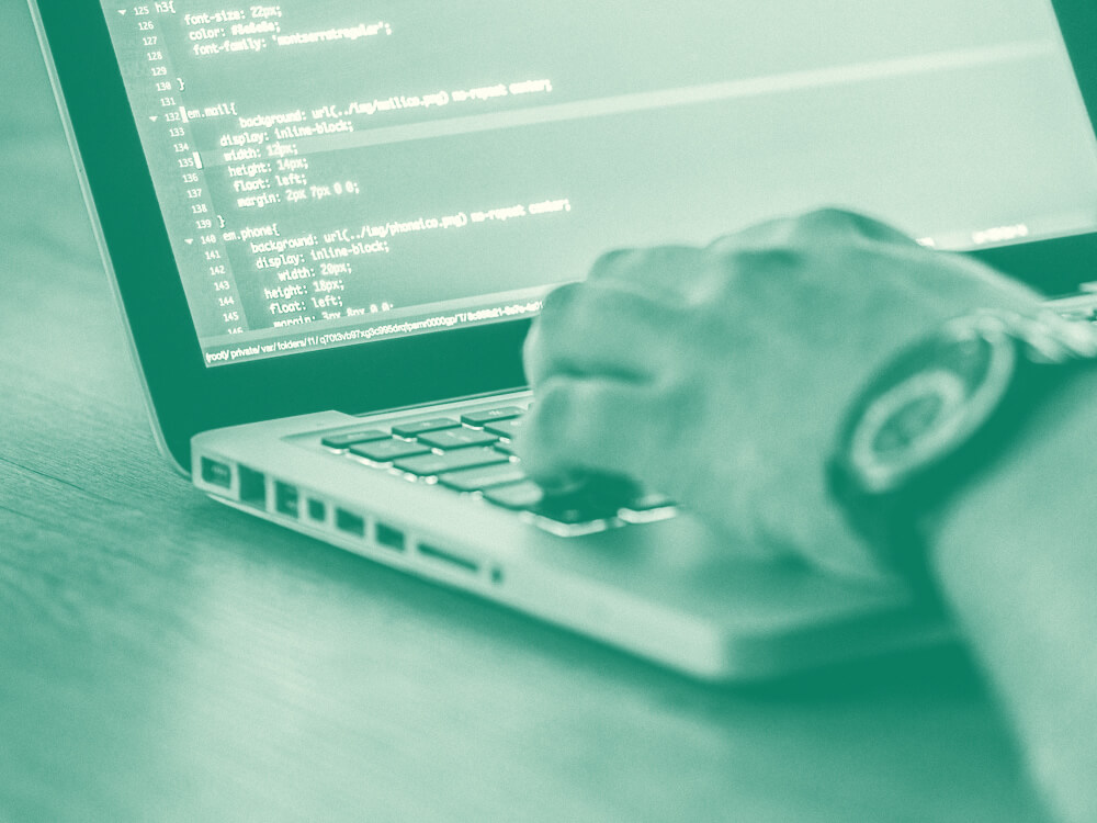 Hands typing code into a laptop. Close-up.