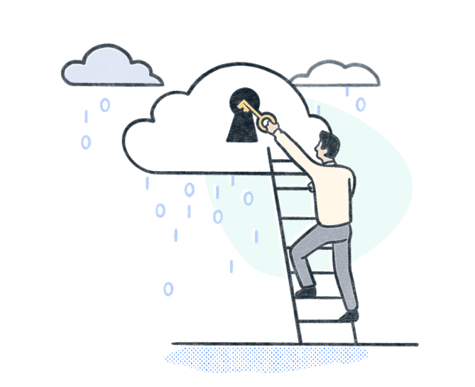 IT professional climbs a ladder to lock a cloud raining data with a key. Illustration.