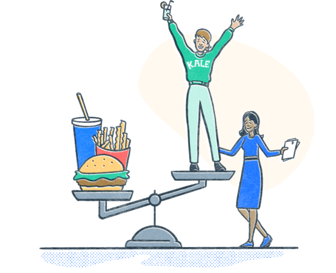 Dietitian stands by client standing on high end of an exaggerated scale. The lower end has a burger and fries. Illustration.