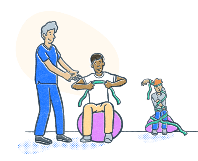 Physical therapist works with a client using resistance bands and an exercise ball while an unattended person in the background struggles. Illustration.