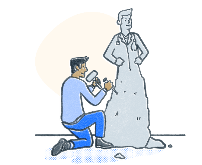 Man chiseling stone into a statue to look like a doctor. Illustration.