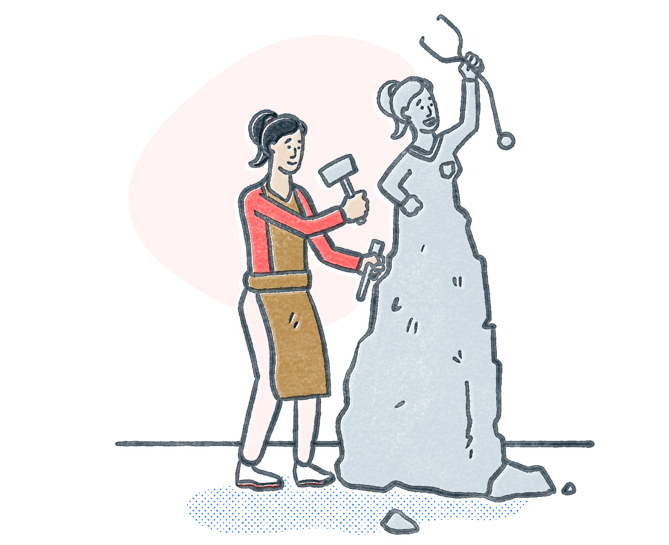 Woman chiseling stone into a statue to look like a nurse holding a stethoscope. Illustration.