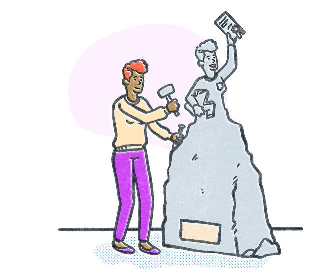 Woman chiseling stone into a statue to look like a nursing school student with acceptance letter. Illustration.