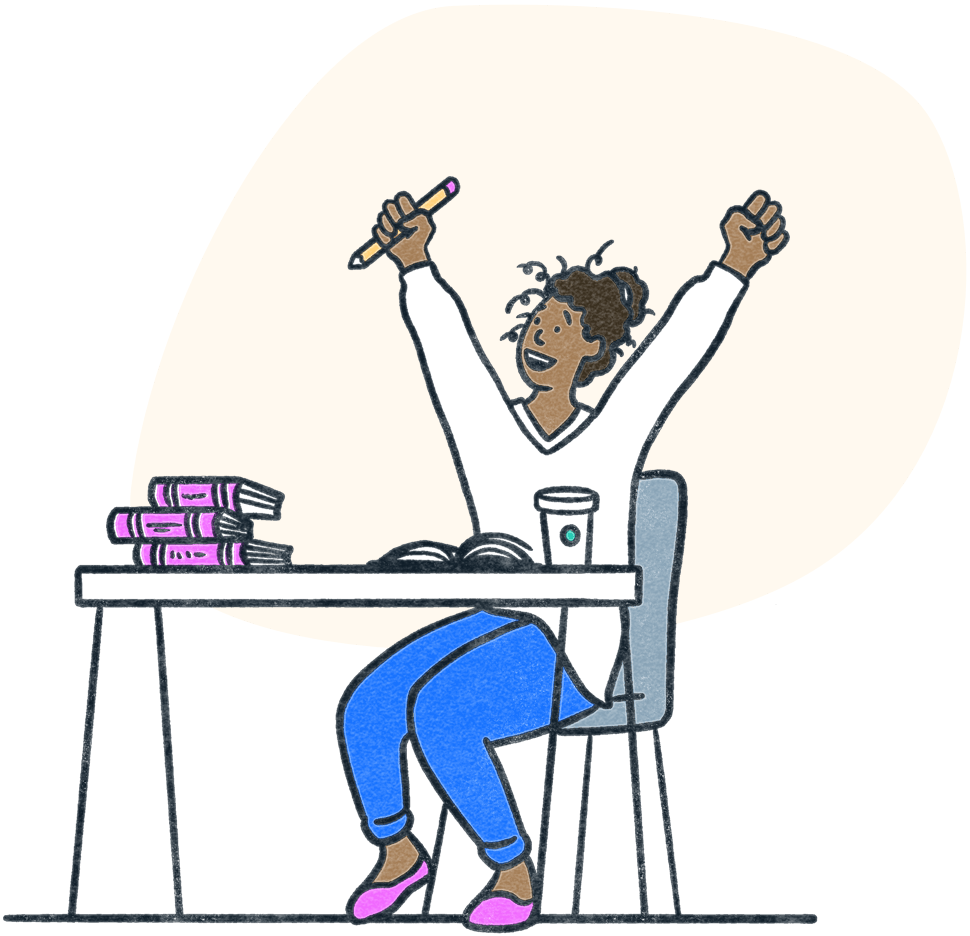Student raises hands in triumph during a study session with books and coffee. Illustration.