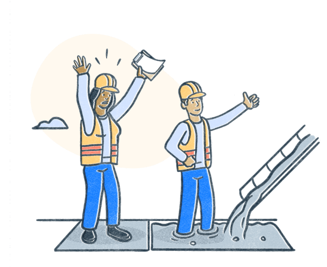 Certified safety professional throws hands in alert as oblivious colleague gives the okay to pour cement where that colleague stands. Illustration.