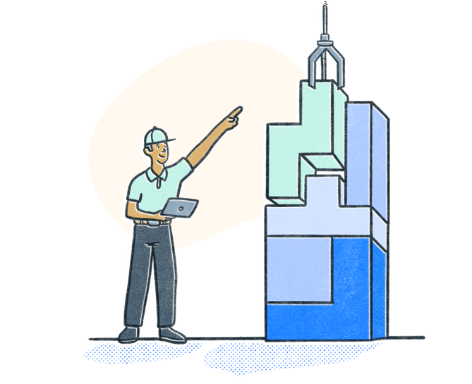Employee holds laptop and points as crane lowers tetris like block in place. Illustration.
