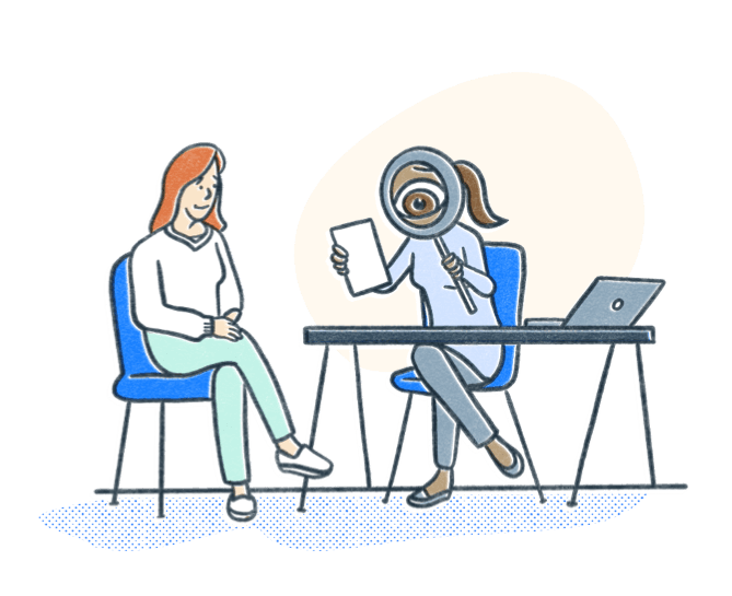 HR specialist holds a magnifying glass to review a resume closely during an interview. Illustration.