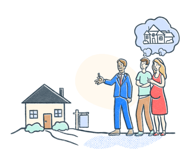 Real estate agent shows clients a modest house as clients dream of a grander home. Illustration.