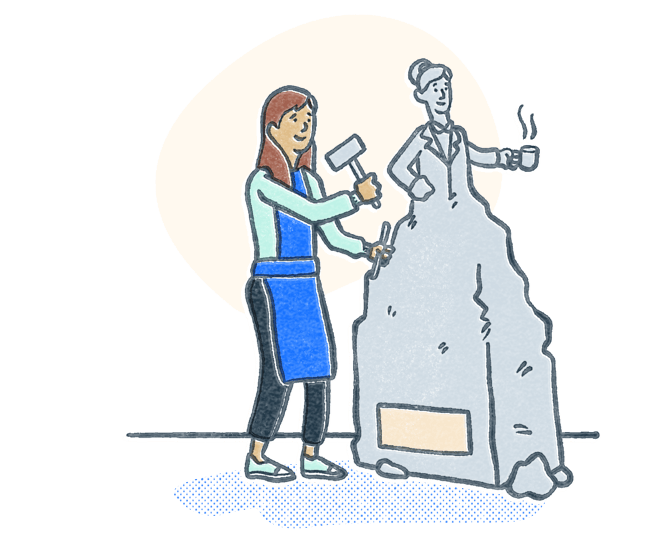 Woman chiseling stone into a statue to look like a professional. Illustration.