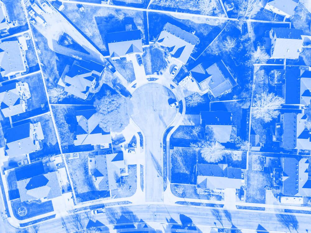 Aerial view of a suburban neighborhood.