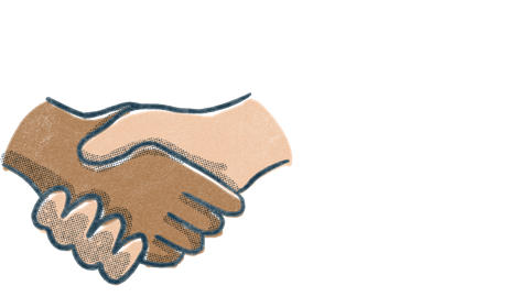 Two hands in a handshake. Illustration.