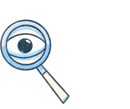 A magnifying glass with an enlarged eye. Illustration.