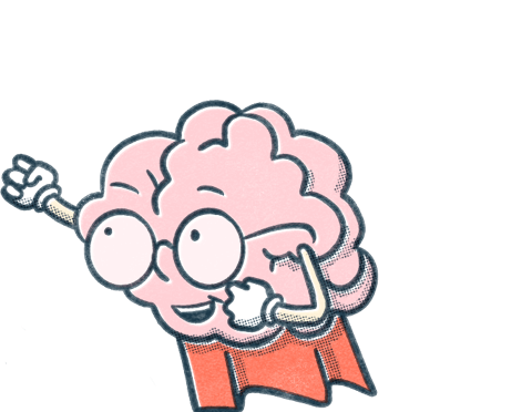 Pocket Prep brain mascot wears a red superhero cape and looks up while holding fists upward.