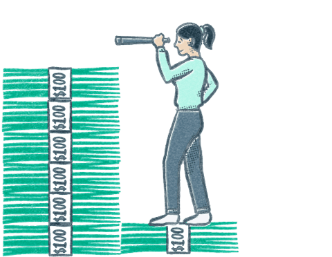 A person stands on stack of dollar bills to see over a much taller stack of dollar bills. Illustration.