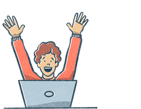 A person throws their hands up from behind a laptop. Illustration.