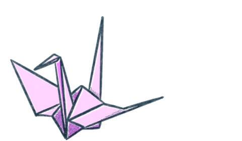 Origami crane. Illustration.