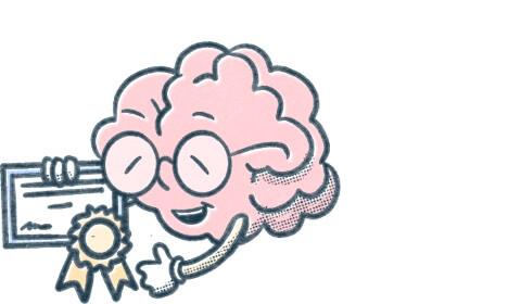 Pocket Prep brain mascot holds certification. Illustration.
