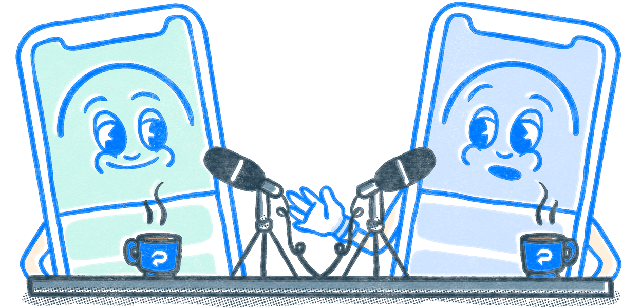 Two Pocket Prep mascots at a podcast desk with mics and coffee mugs. Illustration.