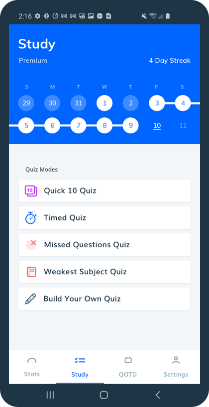 Pocket Prep mobile app study tab with 5 study modes below calendar of study streaks.