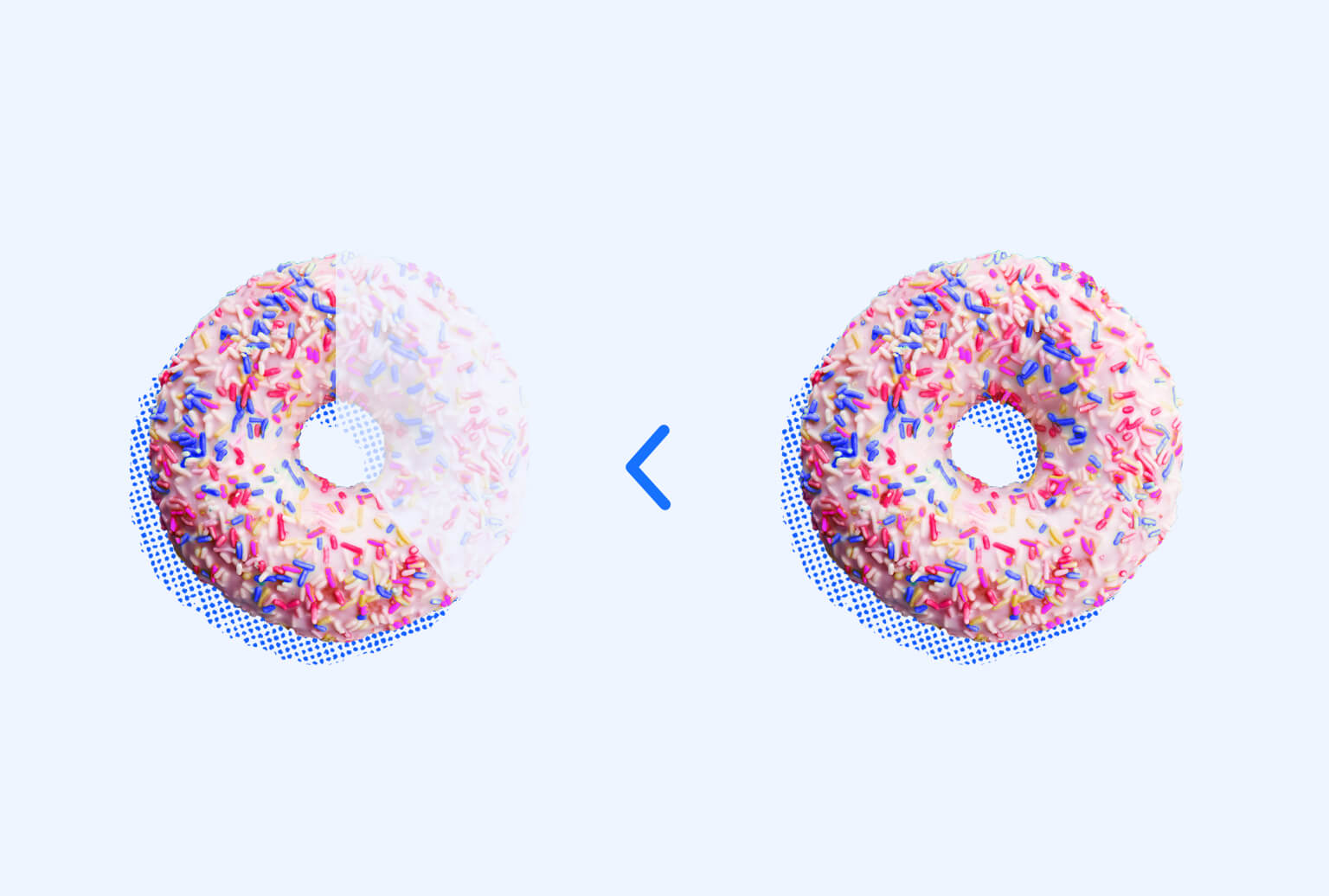 Side-by-side of two pink sprinkle donuts where one is missing two thirds and the other is whole. A greater than symbol appears in the middle.