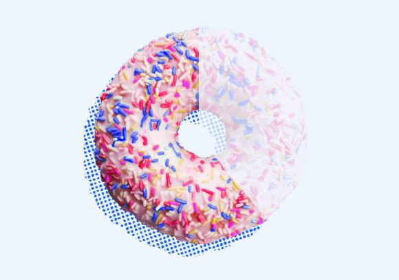 Pink frosted sprinkle donut missing showing two thirds greyed out.