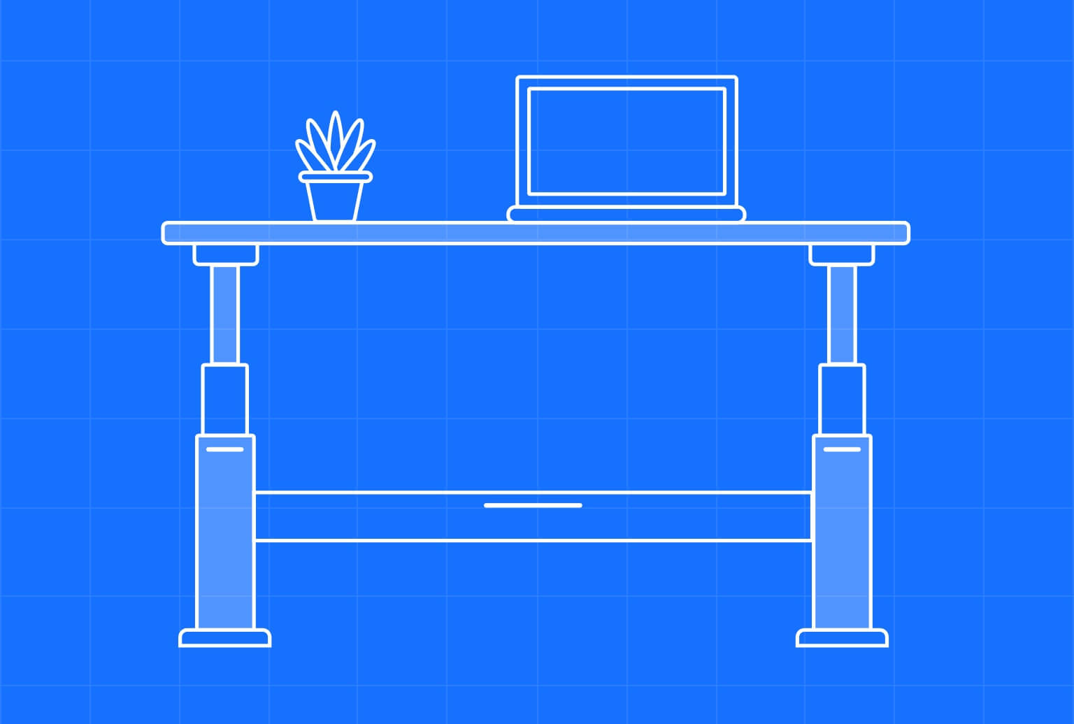 Simple outline of a standing desk with computer and plant on top. Illustration with blue background.