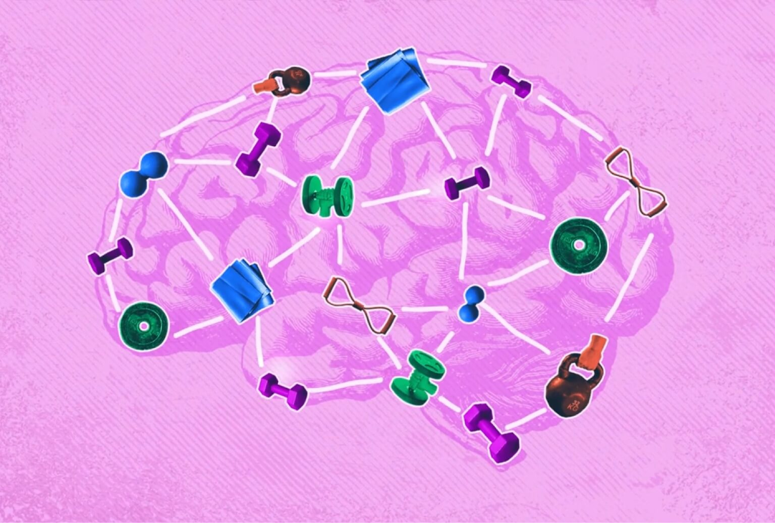 Brain illustration with various pieces of exercise equipment overlaid on top.
