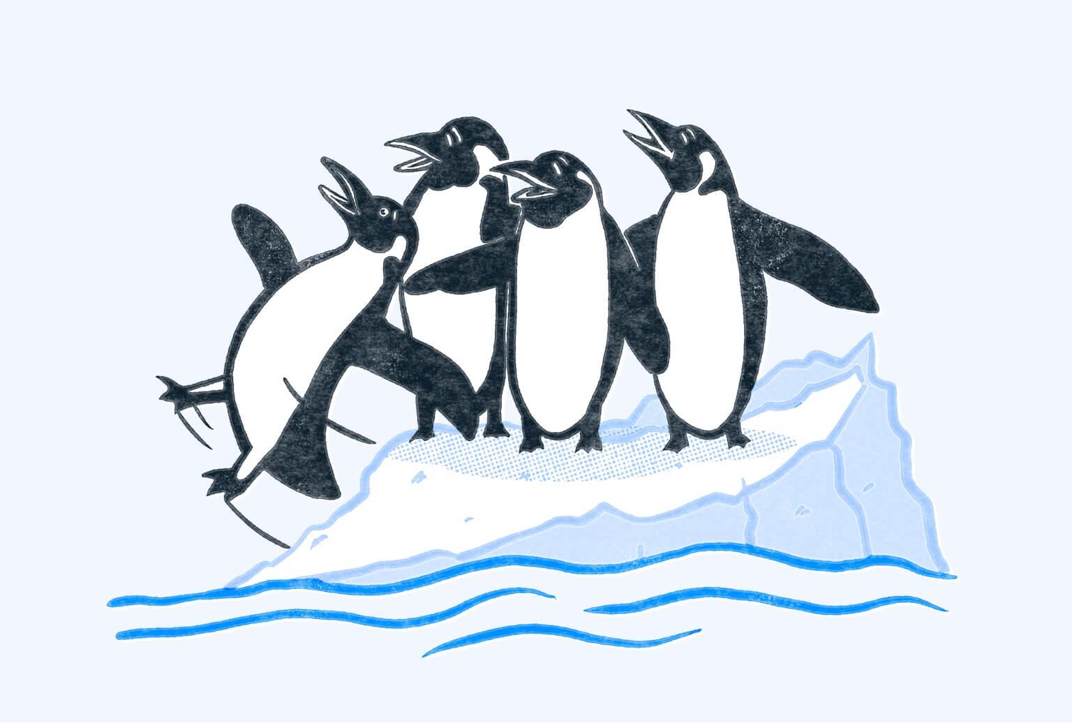 Four penguins on an iceberg. One is falling off the iceberg. Illustration.
