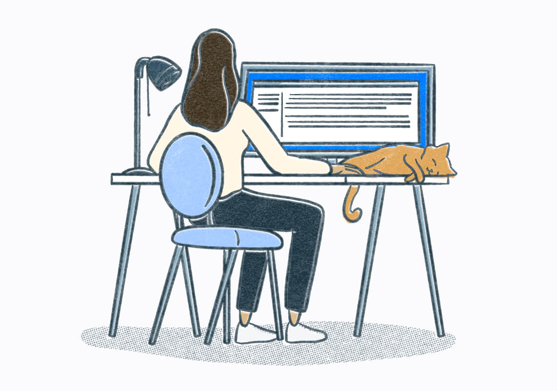 Person sitting at a desk with sleeping cat looking at a very large computer screen. Illustration.