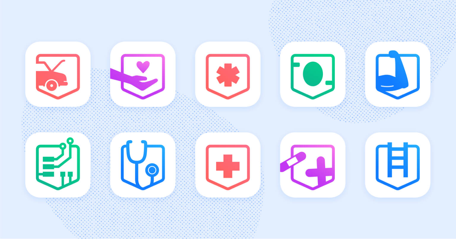 Pocket Prep app bundle icons for ten different industry.