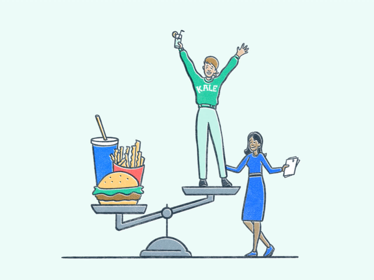 Person standing the high end of a scale with a burger and fries on the other. Illustration.
